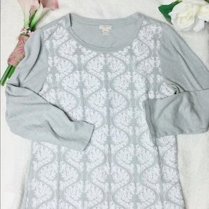 J. Crew Gray Cotton White Embroidered Blouse Small